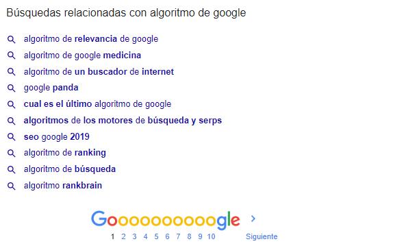 Búsquedas relacionadas en Google