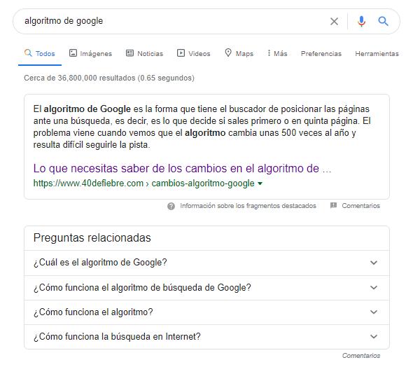 Preguntas relacionadas en Google
