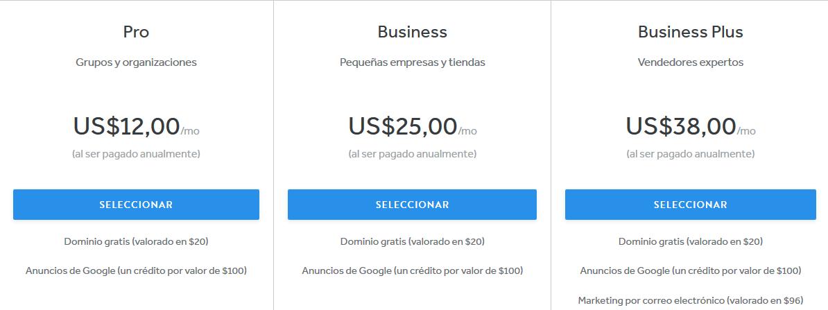 Cuanto cuesta una pagina web en Weebly precios