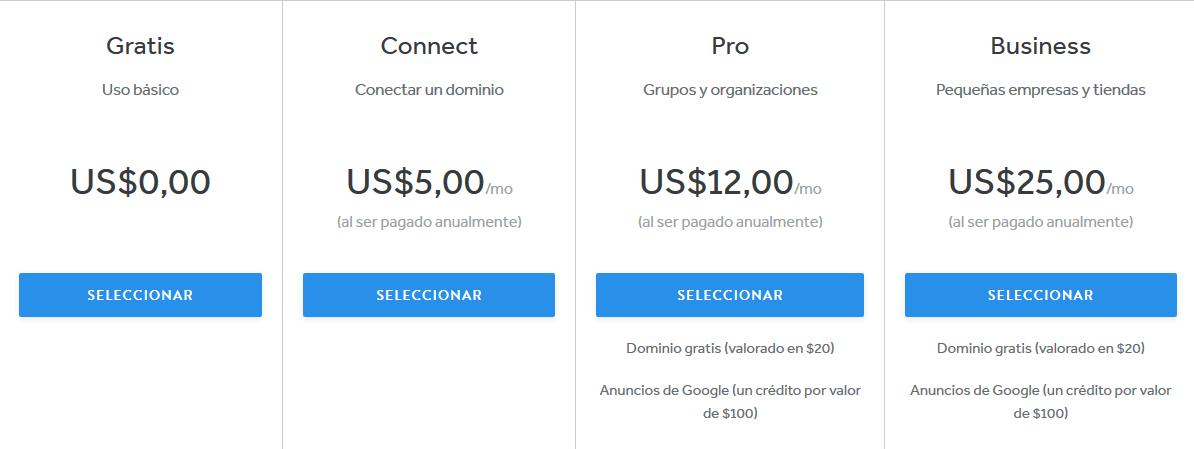 Cuanto cuesta una pagina web en Weebly
