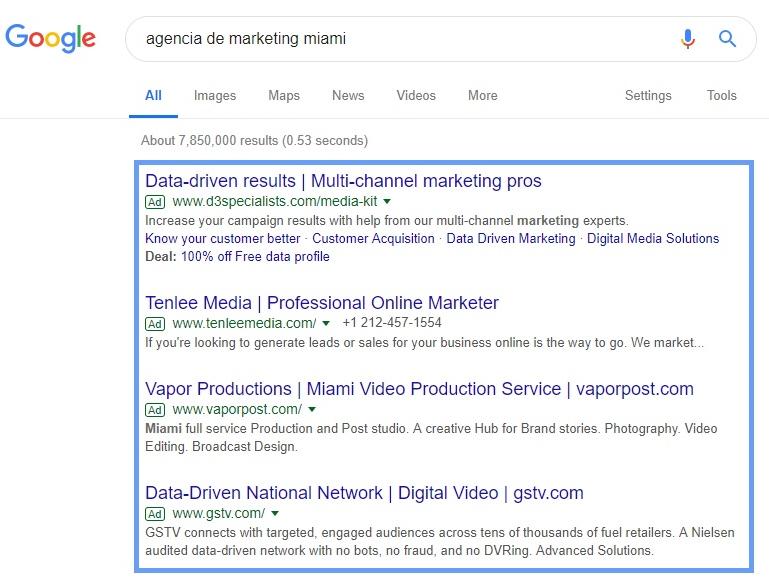 Ejemplo de contenido publicitado en Google