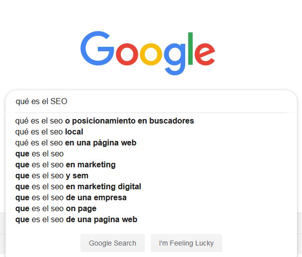 Búsquedas sugeridas en Google