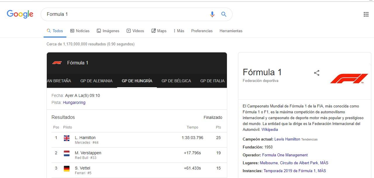 Ejemplo resultado página de resultados de Google