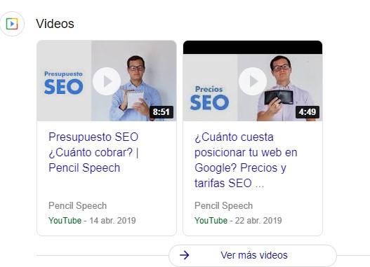 Ejemplo videos de YouTube indexado
