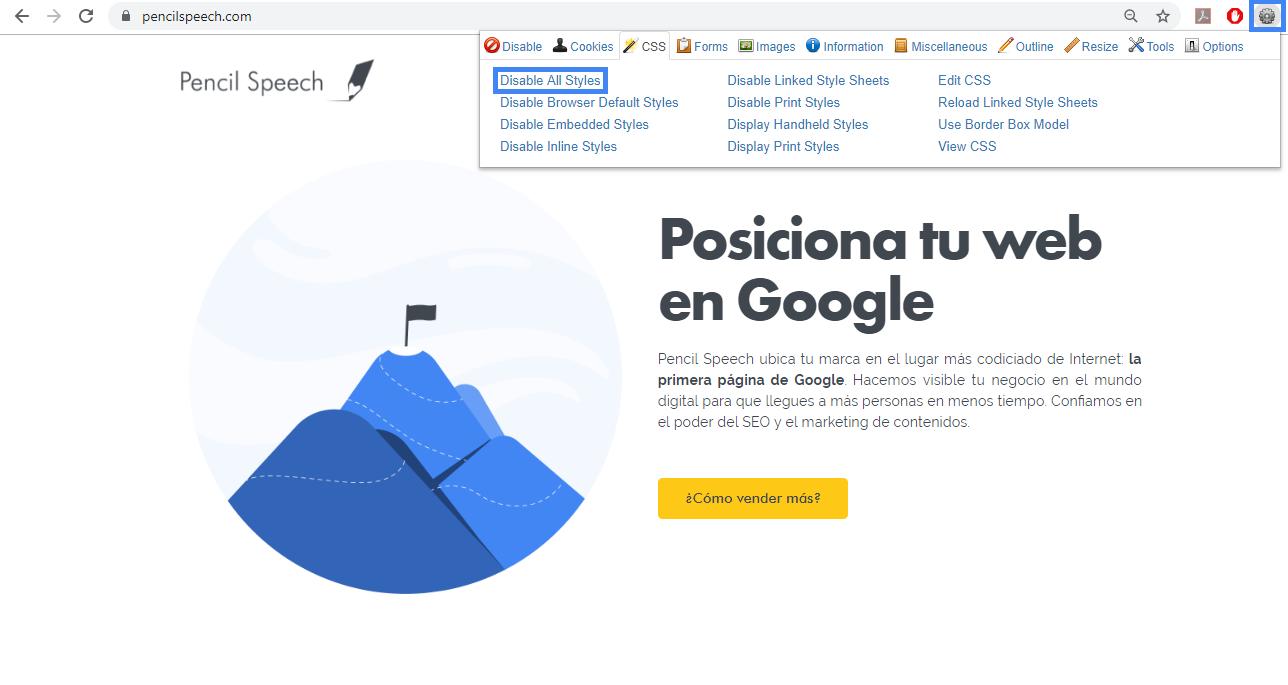 Extensión Web Developer